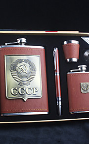 Gift Groomsman 5 Pieces Brown Leather Stainless Steel 9-oz Flask +3oz Flask in Gift Box