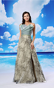Formal Evening Dress - Champagne A-line Scalloped Floor-length Organza/Satin