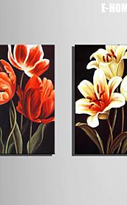 e-home® strukket lerret kunst blomst dekormaling sett 2