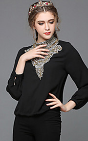 Women Clothing Plus Size Bead Luxury Europe Royal Vintage Long Sleeve Party/Work/Casual Blouse Shirt Top