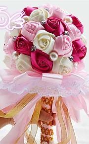 Rhinestone Round Roses Lace Bouquets Wedding Flowers