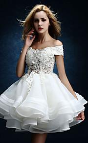 Robe de Mariage  - Blanc Trapèze Épaules Dégagées Genou Genou