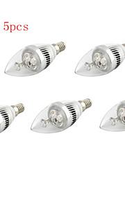 5pcs hry® 5W 500lm varm / kule hvite fargen levende lys ledet stearinlys bulb (85-265v)