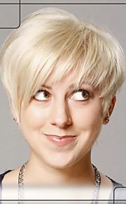 graciösa korta raka mänskliga hår Capless peruker jungfruligt remy mono topp hår peruk