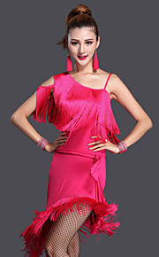Latin Dance Dresses Women's Performance Polyester / Lycra Solid Color Tassel(s) 1 Pieces