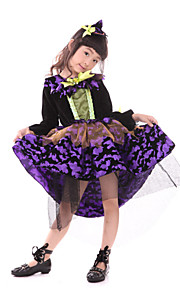 Halloween Children Witch Costume Purple Cosplay Dress