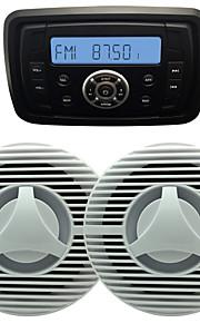 Waterproof Marine Radio Stereo ATV UTV Audio Receiver+6.5 Inch Waterproof Speakers