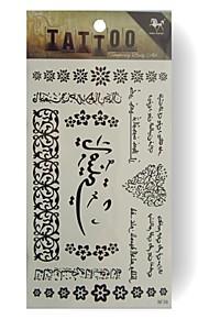 King Horse® Temporary Tattoo RF39 5sheets  Wedding White Tattoo Stickers  Non Toxic/Wedding /Hawaiian  20.5*10cm
