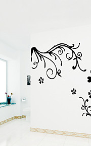 Wall Stickers Wall Decals Style Black Flowers PVC Wall Stickers