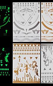 4pcs Body Art Temporary Tattoos Gold Silver Halloween Night Shining Luminous Flash Metallic Sticker Jewelry Waterproof