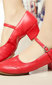 Customizable Women's Dance Shoes Dance Sneakers Leatherette Chunky Heel Pink/Red/White