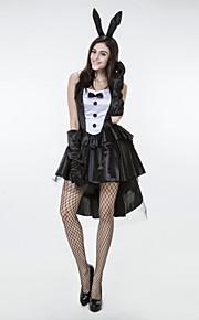 Cosplay Dresses Women's e Polyester / Lycra Bunny Girl Halloween Costume 3 Pieces Black