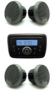 Waterproof Marine Radio Stereo ATV UTV Audio Receiver+2 Pairs 3'' Black Waterproof Speakers