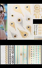 8pcs Body Art Temporary UJ J Gold Silver Black Dreamcatcher Flash Metallic Tattoos Sticker Bracelet Jewelry Waterproof