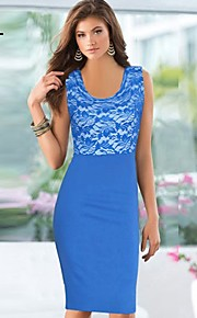 nero / blu / vestito rosa, pizzo splicing maniche bodycon donne