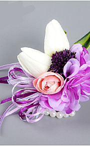 Purple  Wedding/Party Wrist Corsages With Pearl for the Bride(10*12cm)