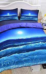 lua vendedor quente e cama oceano espalhar 3d impressão roupas de cama macias 3pcs ou 4pcs legal azul conjunto de roupa de cama de