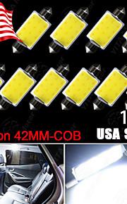 10x 6000K 42mm festoen witte cob leidde kaart / koepel interieur verlichting bollen 578 211-2 ons