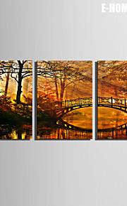 E-Home® Leinwand Kunst Brücken auf dem Fluss Dekorationsmalerei Satz von 3