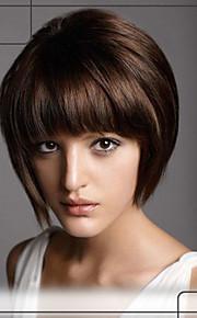 avslappnad stil rakt människohår Capless peruker korta jungfruligt remy mono topp hår peruk