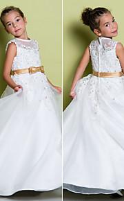 Lanting Bride A-vonalú Földig érő Virágoslány ruha - Organza Ujjatlan Ékszer val vel Rátétek