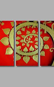 håndmalede olie maleri på lærred væg kunst moderne gyldne blomster røde træer hjem deco tre panel klar til at hænge
