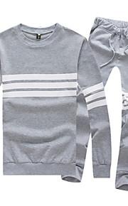 Masculino Sets activewear Casual Listrado Algodão Manga Comprida Masculino