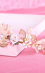 Bride's Golden Leaves Imitation Pearl Forehead Wedding Headbands 1 PC