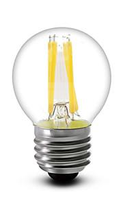Lampes LED à Filament Gradable Blanc Chaud SML 1 pièce G45 E14 / E12 / E26/E27 4 W 4 COB 400 LM AC 100-240 / AC 110-130 V