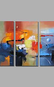 キャンバスウォールアートコンテンポラリーな抽象青色の3つのパネルを延伸手描きの油絵をハングアップする準備ができて
