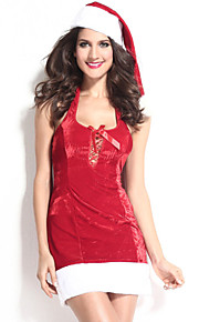 Christmas Costume Women's Polyester Sexy Sweet Backless Bowknot Dress with Hat Red
