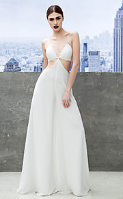 Formal Evening Dress - White Sheath/Column Spaghetti Straps Floor-length Chiffon