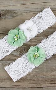 Stretch Satin / Lace Wedding Cute Garter with Flower /Imitation Pearl
