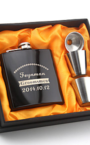 Personalized Stainless Black  Steel Flasks 6-oz  Flask Set Thanks