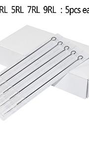 25pcs Mixed Stainless Steel Needles 1RL/3RL/5RL/7RL/9RL for Tattooing 5pcs for Each Size