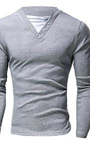 Katoen / Polyester - Effen - Heren - T-shirt - Informeel / Werk / Formeel / Sport / Grote maten - Lange mouw