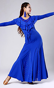 Imported Nylon Viscose with Sequins and Ruffles Ballroom Dance Dresses for Women's Performance(More Colors)