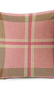 Country Pink Geometric Cotton/Linen Decorative Pillow Cover