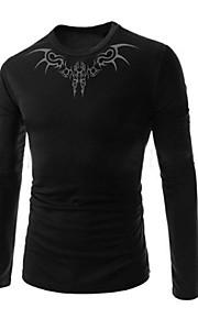 Katoen / Nylon - Effen - Heren - T-shirt - Informeel / Werk / Formeel / Sport / Grote maten - Lange mouw