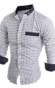 Men's Long Sleeve Shirt , Cotton / Polyester Casual / Work Plaids & Checks