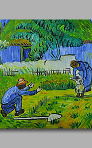 Ready to hang Stretched Hand-Painted Oil Painting Canvas Abstract Van Gogh repro First Step One Panel