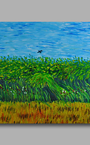 Ready to hang Stretched Hand-Painted Oil Painting Canvas Van Gogh repro Wheatfield with crows One Panel