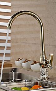 moderne gull keramiske&messing varmt og kaldt enkelt håndtak kjøkkenkran