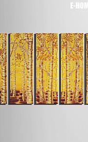 Landskap / Botanisk Lerret Print Fem Paneler Klar til å henge , Lodrett