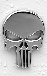 6x4.3cm kranium hoved fast zink legering krom metal bil styling emblem 3d sticker køligt skræmmende ydre mærke