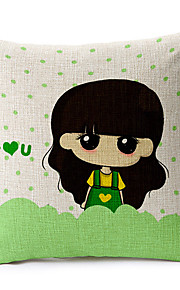 Girl in Spring Cotton/Linen Decorative Pillow Cover