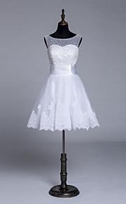 Robe de Mariage  - Blanc Trapèze Tour du Cou Genou Genou