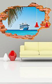Mote / Landskap / Transport / fantasi / 3D Wall Stickers 3D mur klistermærker , Vinyl stickers 87*56cm