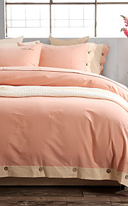 1フラットシートで2枕カバーを4枚の単純な家庭のテーマ布団カバーセットをサンディングシンプルな華やかさ綿100%
