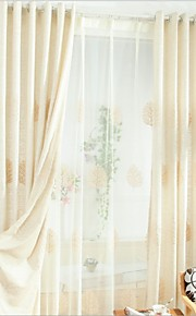Two Panels Europe Contracted Simple But Elegant Fashion High-Grade Cotton Embroidered Curtains